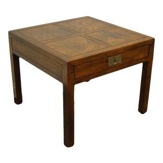 Vintage Campaign Henredon Furniture Walnut Square End Table For Sale