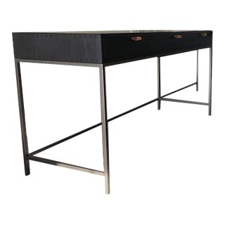 Mid-Century Inspired Black Executive Desk For Sale