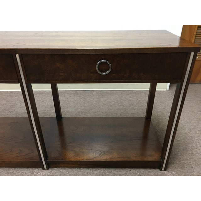 Vintage Wood and Chrome Console/Sofa Table - Image 4 of 10
