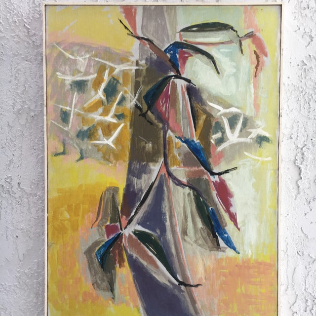 This wonderful vintage abstract is titled on back as Flowers & Birds. Great colors. Signature hard to read believe it to...
