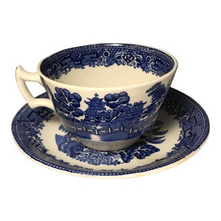 1920s Blue Willow Pattern Tea Cup and Saucer by Wood and Sons For Sale