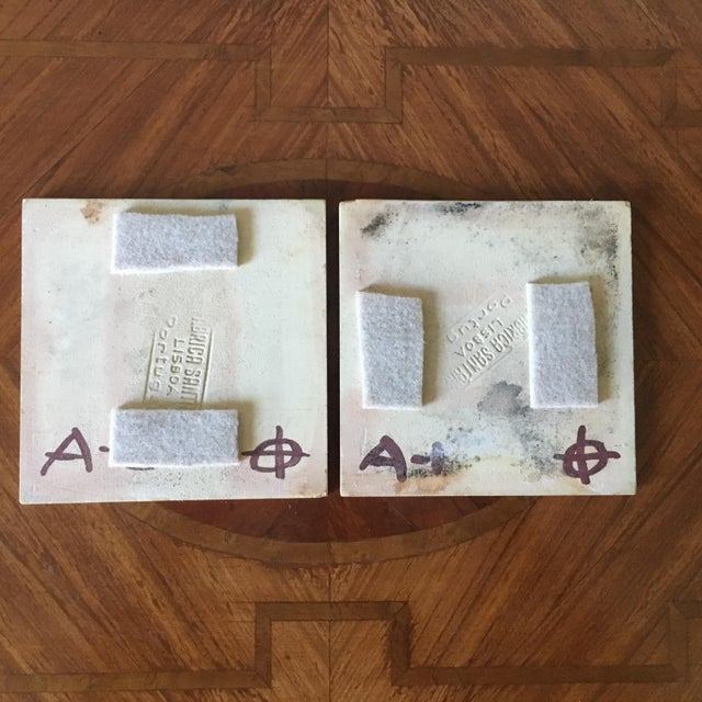 Ceramic Vintage Portuguese Blue and White Tiles-A Pair For Sale - Image 7 of 8