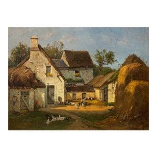 Circa 1878 Barbizon Barnyard Scene of D'Huyson, France by François De Blois For Sale