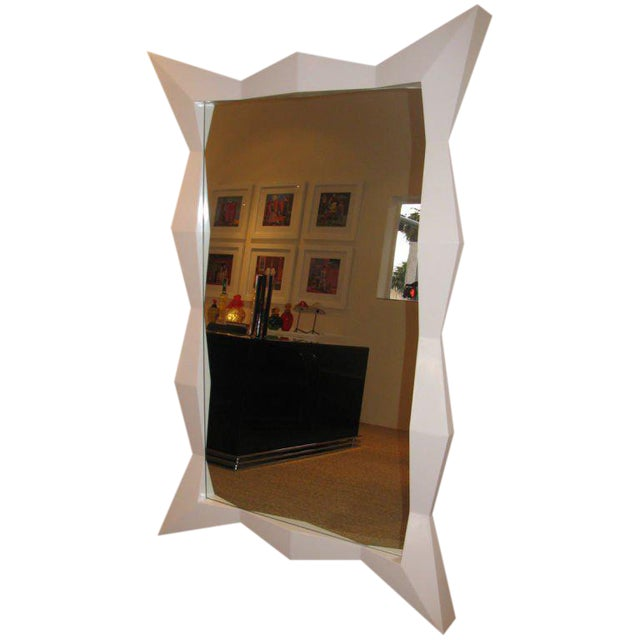Oversized Diamond White Lacquered Mirror For Sale