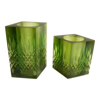 Mid Century Sascha Brastoff Green Resin Candle Holders - Set of 2 For Sale