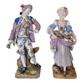 19th Century Meissen Figurines - a Pair For Sale