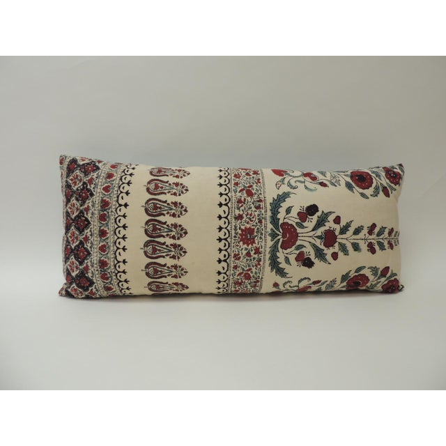 Late 19th Century 19th Century Indian Qalamkar Floral Decorative Bolster Pillow For Sale - Image 5 of 5