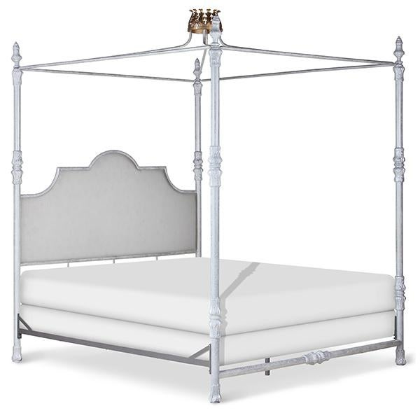 Traditional Swede Collection King Metal Bed With Crown Canopy For Sale - Image 3 of 6