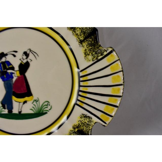 1940s French Faïence Henriot Quimper Fish & Breton Dancer Plate, Multiples Available For Sale In Philadelphia - Image 6 of 12