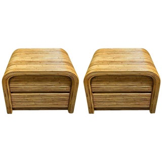 Gabriella Crespi Style Bamboo End Tables - A Pair