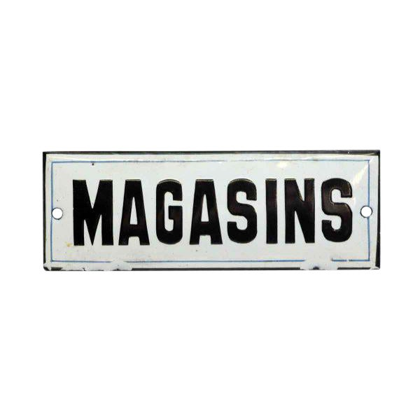 """Vintage French """"Magasins"""" Wall Sign For Sale"""