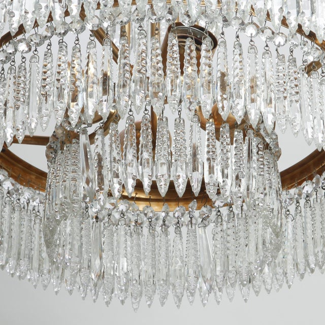 Brass French Hand Cut Crystal and Brass Chandelier For Sale - Image 7 of 7