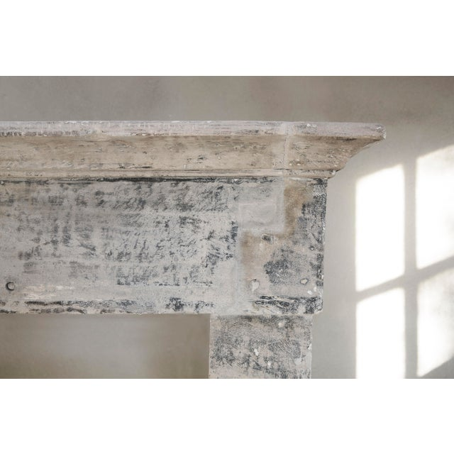 19th Century Antique Limestone Fireplace of French Limestone, Campagnarde Style For Sale - Image 5 of 9