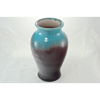 1930s Aqua & Eggplant Crackle Glaze Vase Preview