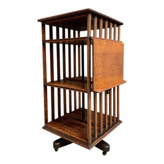Antique English Oak Revolving Rolling Bookcase For Sale