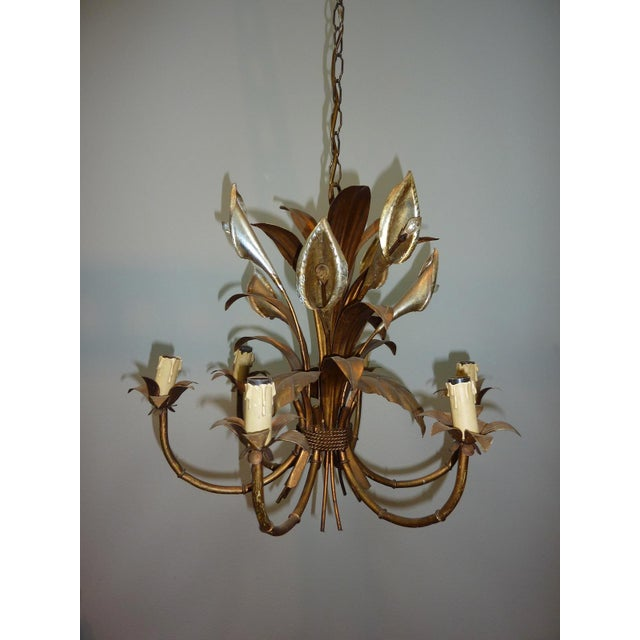 Italian Calla Lily 6-Light Gilded Chandelier - Image 5 of 7