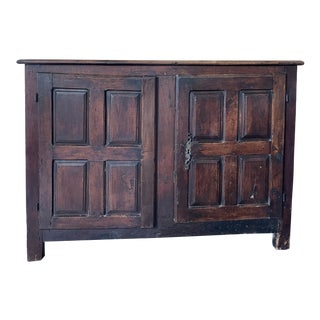 Antique Rustic French Country Louis XIV Hardwood Two Door Storage Cupboard For Sale