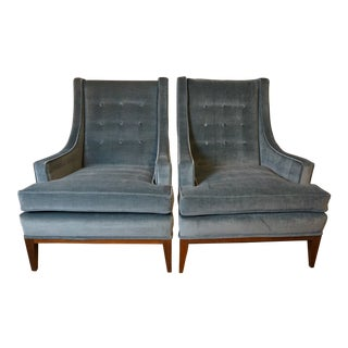 1960s Mid Century Henredon High Back Club Chairs - a Pair For Sale
