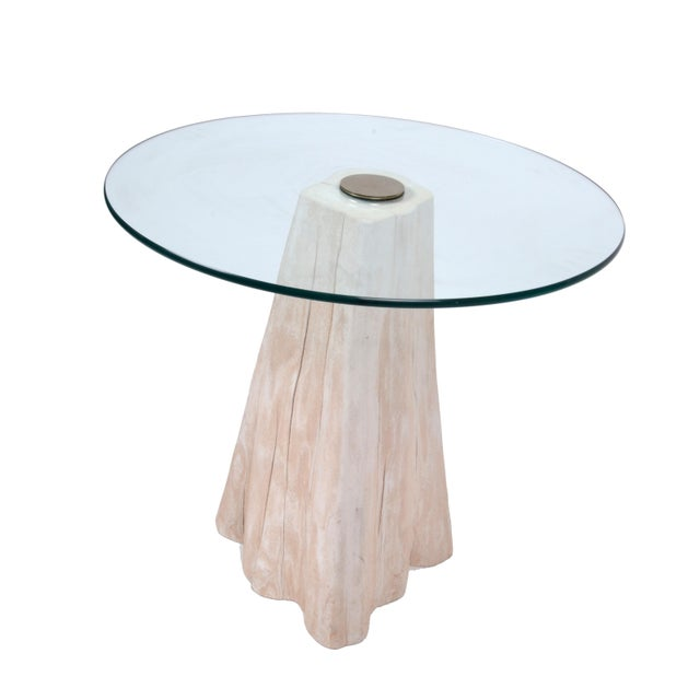 Round Mid-Century Modern Tree Stump Glass Side Table The metal knob has spotting.