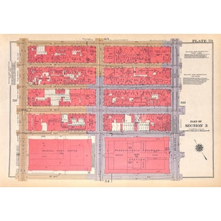 New York City Map, West Side, Hell's Kitchen, Midtown, Empire State Building, Macy's W. 31st - W. 37th Streets 1934 (Pl. 59-60) For Sale