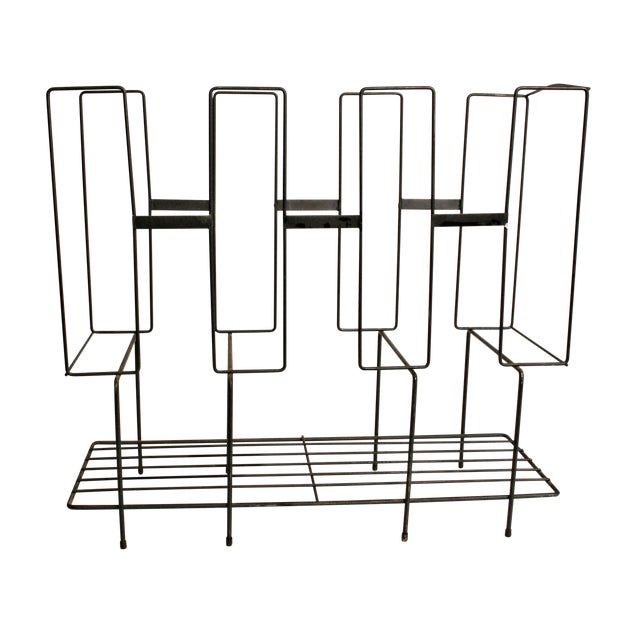 Mid-Century Modern Black Wire Record Rack For Sale