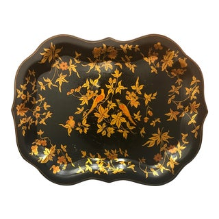 Toleware French Black and Gold Bird and Leaf Design Tray
