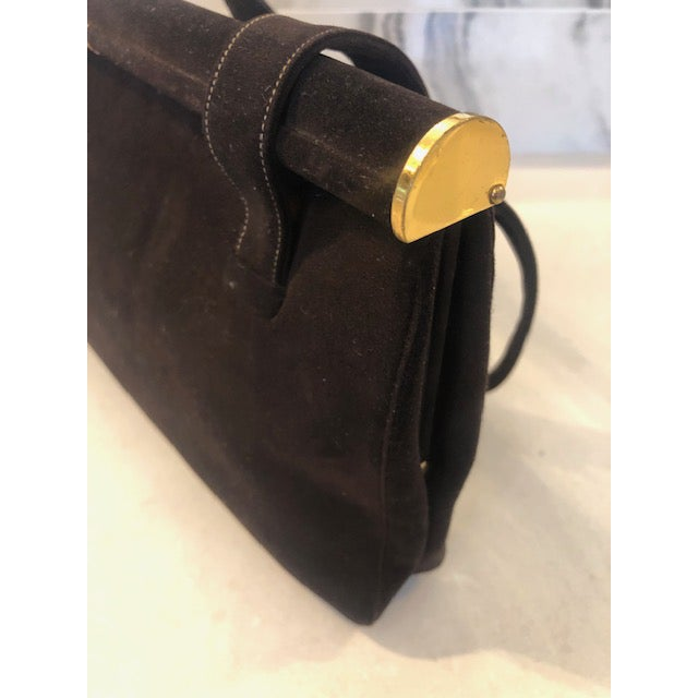 1940s Koret Chocolate Calfskin Suede Purse For Sale - Image 9 of 13