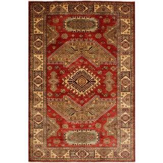 Super Kazak Garish Alan Red/Lt. Gold Wool Rug - 5'7 X 7'7 For Sale