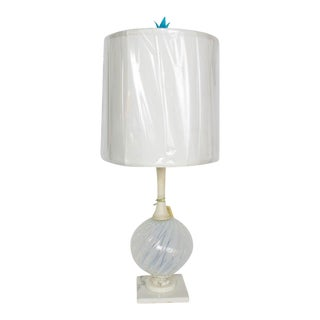 Mid Century Murano Glass and Marble Table Lamp For Sale