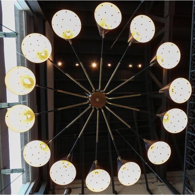 Midcentury Style Brass Chandelier With Black Perforated Shades For Sale In Los Angeles - Image 6 of 9