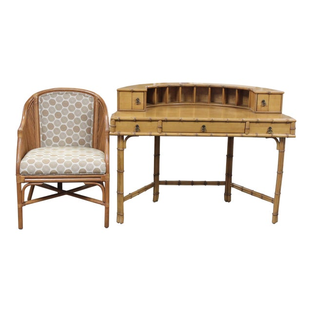 Ficks Reed Writing Desk & Chair - a Pair For Sale