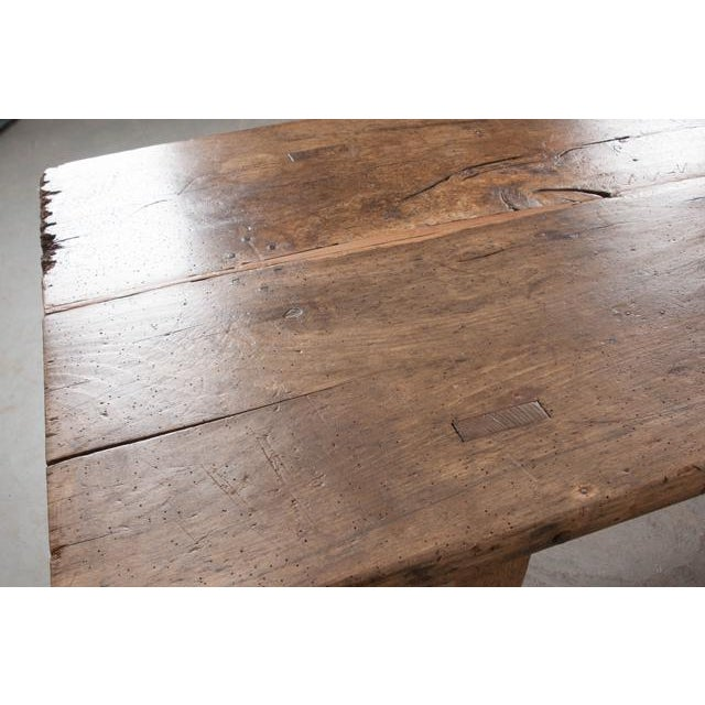 Brown French 19th Century Oak Farmhouse Trestle Table For Sale - Image 8 of 11
