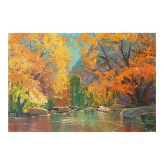 'Fall Colors' by Edmond Woods, Large Oil by San Diego, California Artist, Chouinard Art Institute For Sale