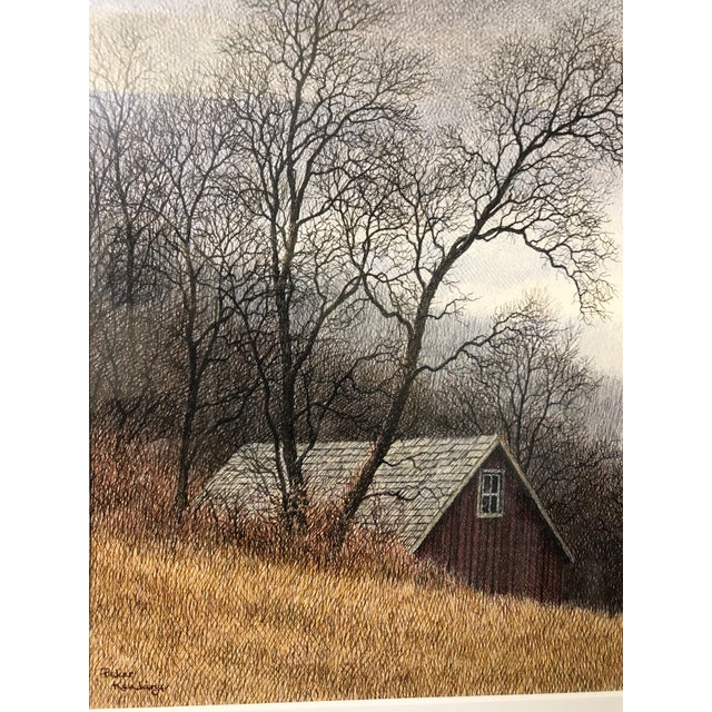 Watercolor Original Realist Peter Keating Dreamy Watercolor of Mountainside Barn For Sale - Image 7 of 10