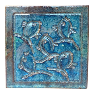 Mid Century Fish Tile, Trivet, Signed For Sale