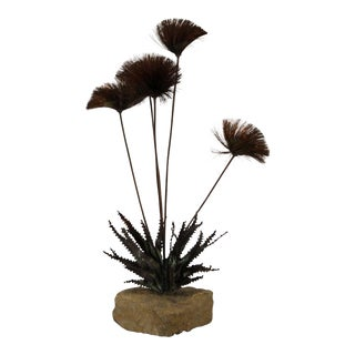 1970s Mid Century Modern Brutalist Alfred Steck Jere Brass Pom Pom Table Sculpture For Sale