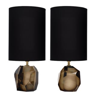 Murano Glass Smoked Amber Rock Lamps For Sale