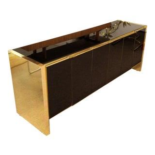 1970s Ello Mid-Century Modern Smoked Mirrored Brass Trim Credenza For Sale
