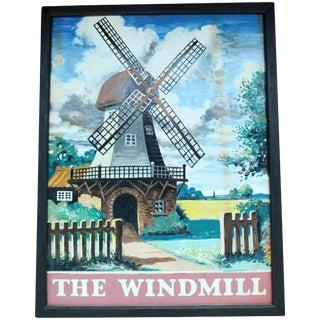 "Vintage ""The Windmill"" Mid-Century Metal Pub Sign For Sale"