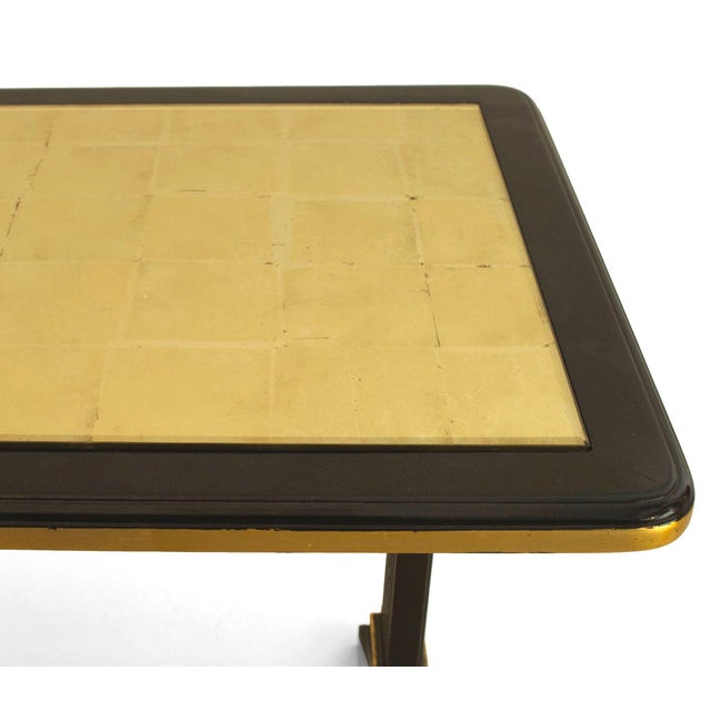 Art Deco 1940s French Gilt Glass and Ebonized Wood Coffee Table, by Jansen For Sale - Image 3 of 4