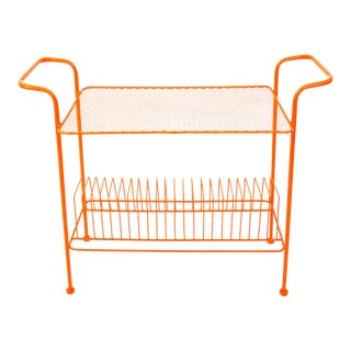 Mid-Century Modern Orange Metal Record Rack Turntable Stand