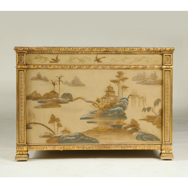 Chinoiserie Hand-Painted Parcel Gilt Partners Pedestal Desk For Sale - Image 11 of 12