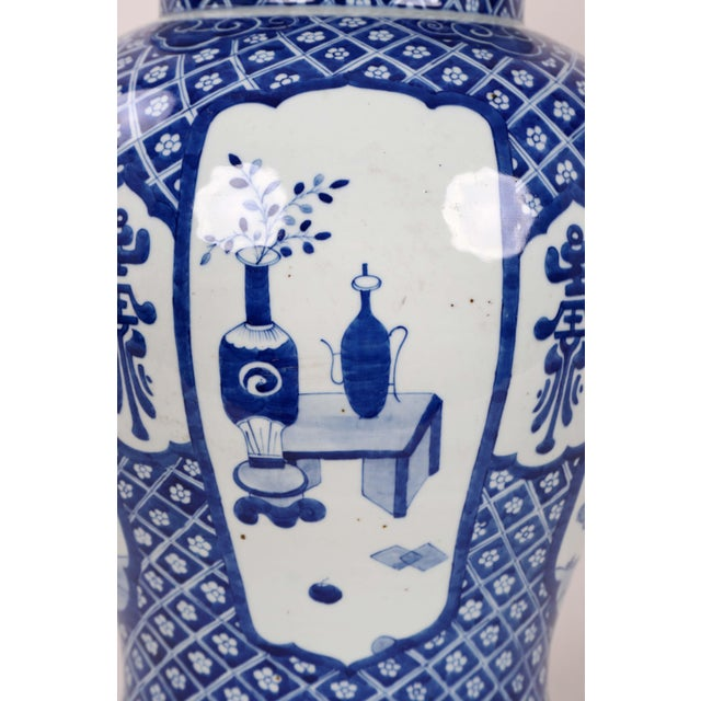 Early 20th Century Vintage Blue White Temple Jar For Sale - Image 9 of 13