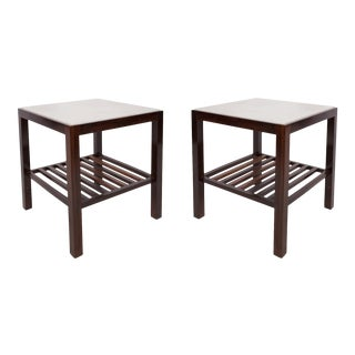 Brazilian Mid-century Modern Side Tables in Marble and Jacarand - a Pair For Sale