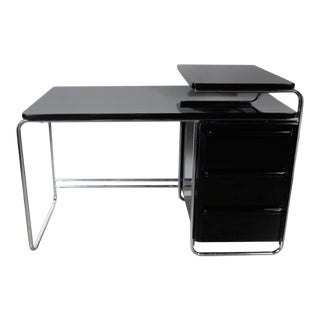 Art Deco Bauhaus Style Desk by Wolfgang Hoffmann in Black Lacquer and Chrome
