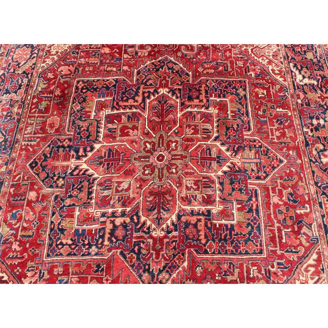 1950s Vintage Persian Heriz Red Medallion Rug - 8′ × 11′9″ For Sale - Image 9 of 13