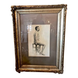 19th Century Drawing of Male Nude