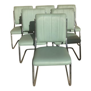 Italian Cantilever Chrome Chairs - Set of 6