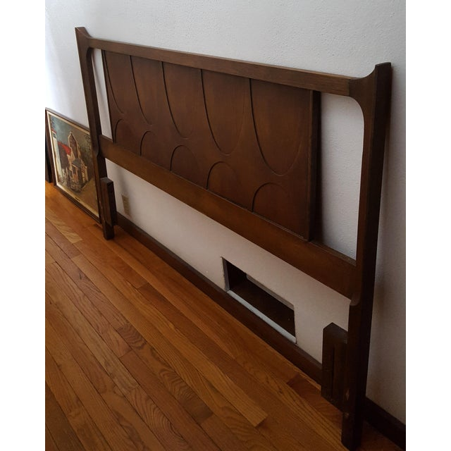 Vintage Walnut Broyhill Brasilia Full/Queen Headboard For Sale - Image 10 of 10