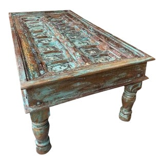 Rustic Distressed Blue Doors Coffee Table For Sale